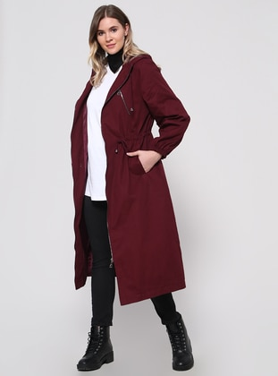 Maroon - Fully Lined - Plus Size Overcoat - Alia