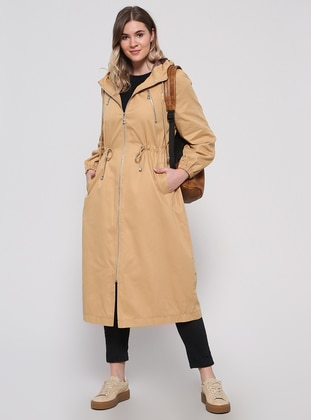 Camel - Fully Lined - Plus Size Overcoat - Alia