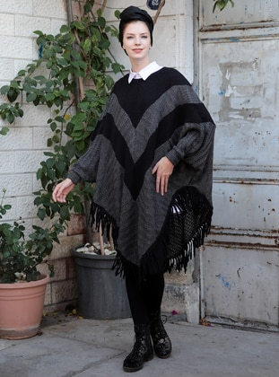 Anthracite – V Neck Collar – Poncho – Selma Sari Design