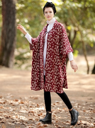 Maroon - Shawl Collar - Unlined - Wool Blend - Poncho