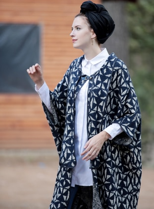 Navy Blue - Shawl Collar - Unlined - Wool Blend - Poncho