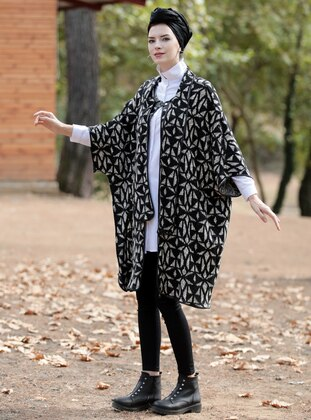 Black - Shawl Collar - Unlined - Wool Blend - Poncho