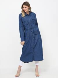 Astarsız kumaş - Fransız yaka - Pamuk - Büyük Beden elbise