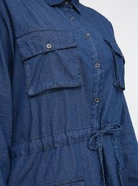 Blue - Unlined - Point Collar - Cotton - Plus Size Dress