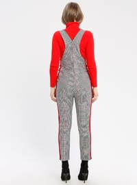 Red - Plaid - Unlined - Jumpsuit