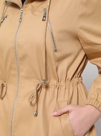 Camel - Fully Lined - Plus Size Overcoat