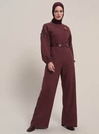 Maroon - Unlined - Crew neck - Cotton - Jumpsuit