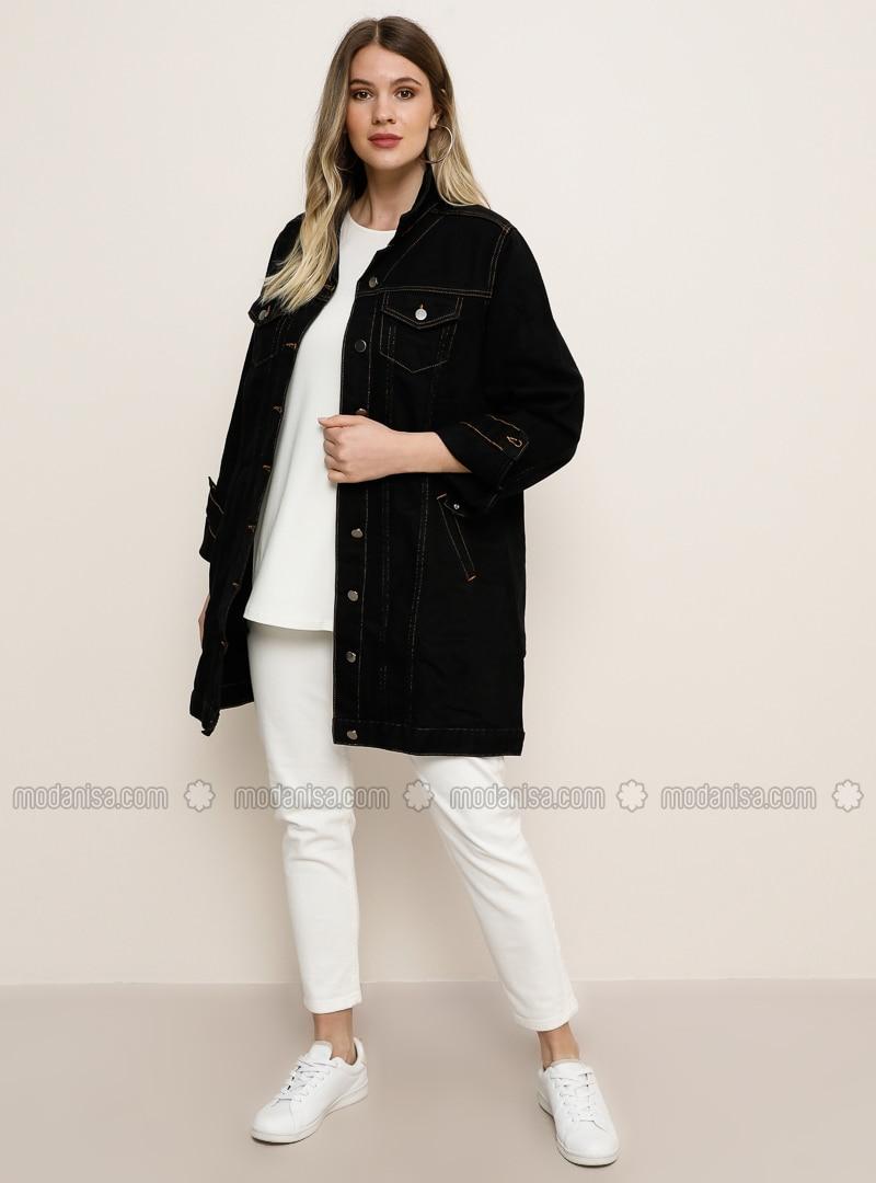 Black - Point Collar - Unlined - Cotton - Denim - Plus Size Jacket