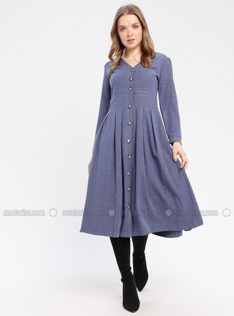 Indigo - V neck Collar - Unlined - Dresses