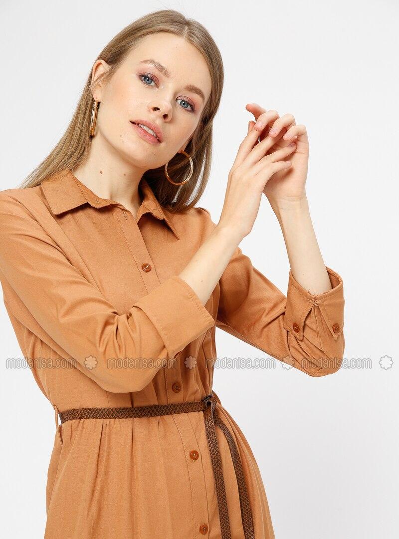 Mustard - Point Collar - Unlined - Dresses