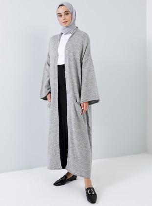 Gray - Cotton - Acrylic -  - Cardigan