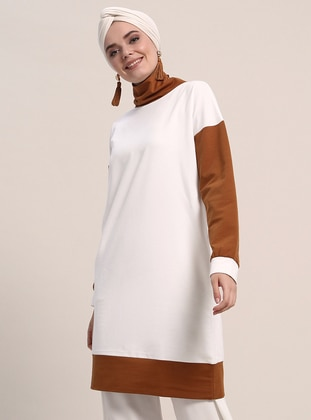 Tan - Cream - Polo neck - Cotton - Tunic