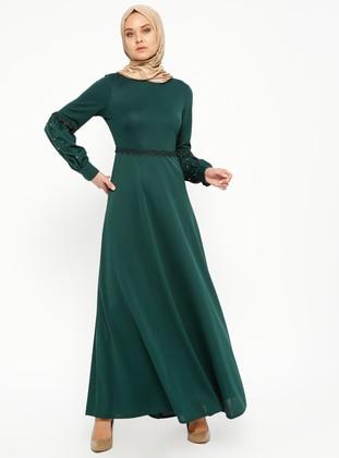 65eeca4749afa الأخضر الزمردي - قبة مدورة - نسيج غير مبطن - فستان