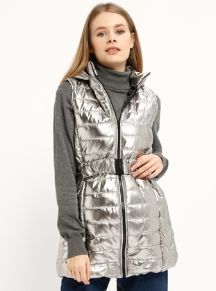 Silver Tone - Fully Lined - Polo neck - Vest