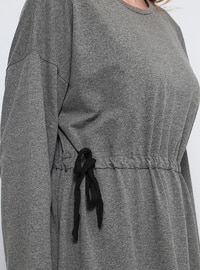 Anthracite - Unlined - Crew neck - Plus Size Dress