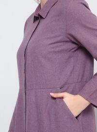 Purple - Unlined - Point Collar - Cotton - Plus Size Dress