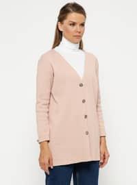 Pink - V neck Collar - Cardigan