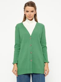 Green - V neck Collar - Cardigan