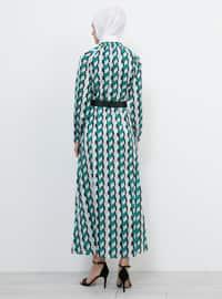 Green - Khaki - Multi - Crew neck - Unlined - Dresses