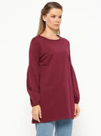Plum - Crew neck - Cotton - Tunic