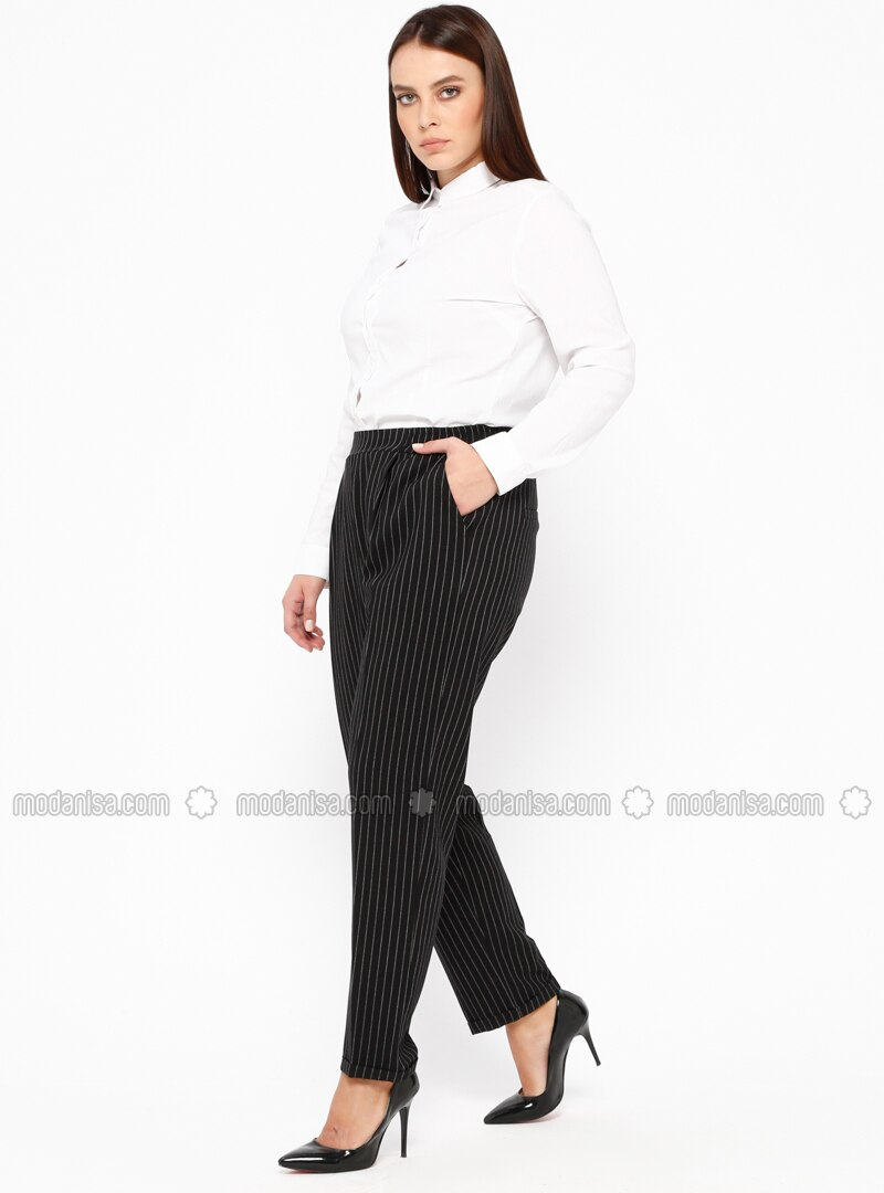 Black - Stripe - Plus Size Pants