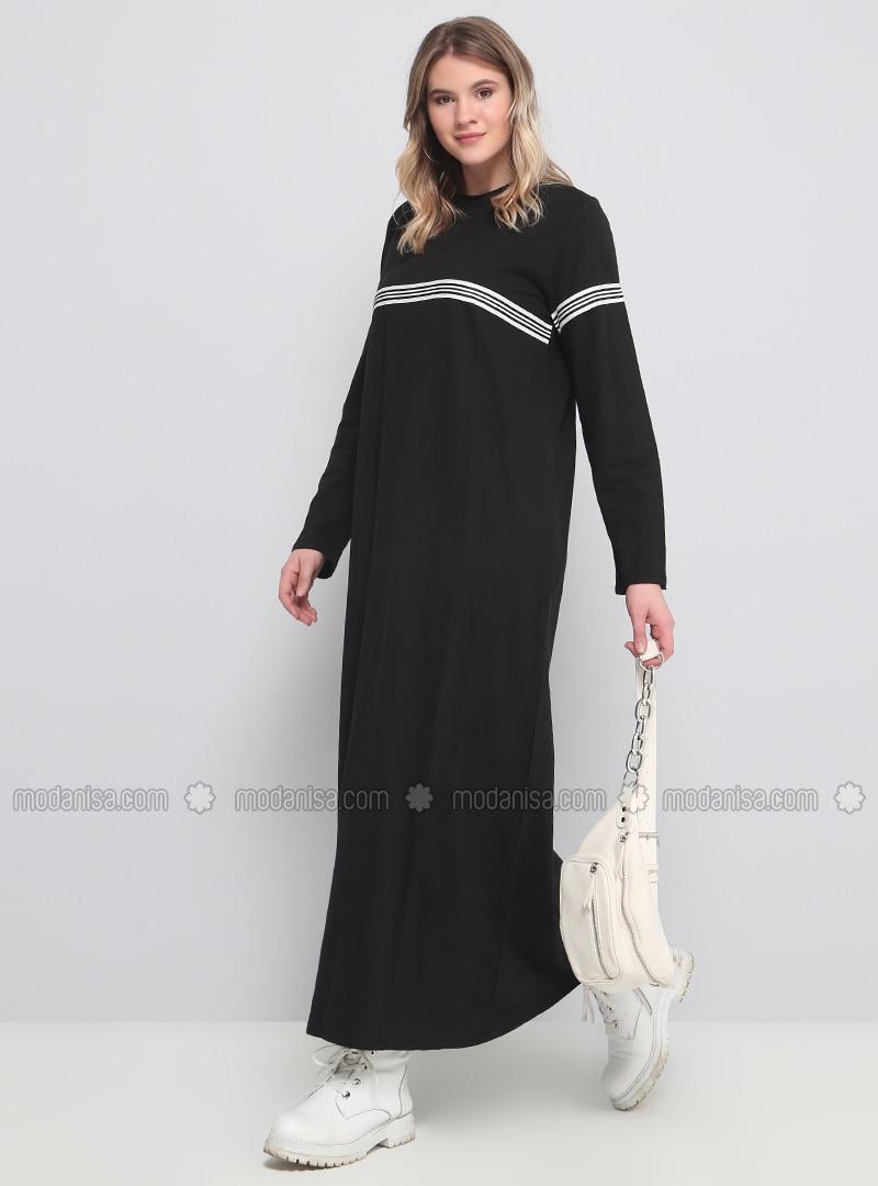 e4e863a50c945 Doğal kumaşlı Spor Elbise - Siyah