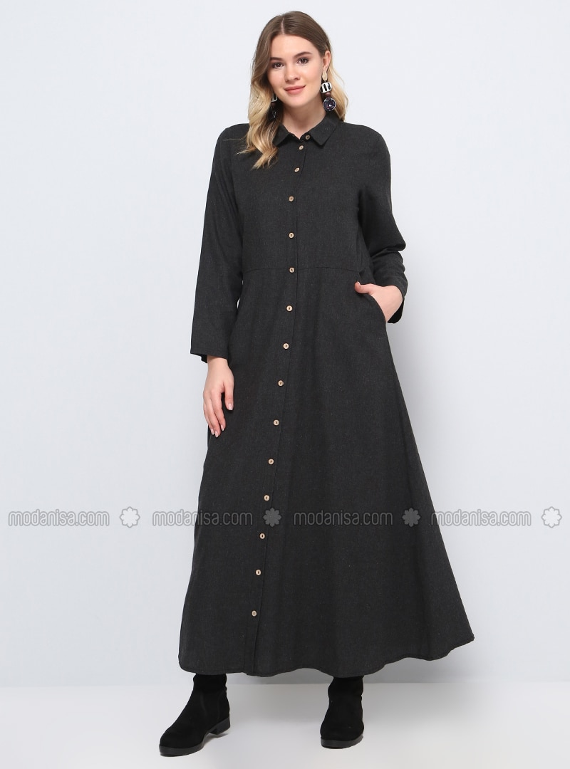 Anthracite - Unlined - Point Collar - Cotton - Plus Size Coat