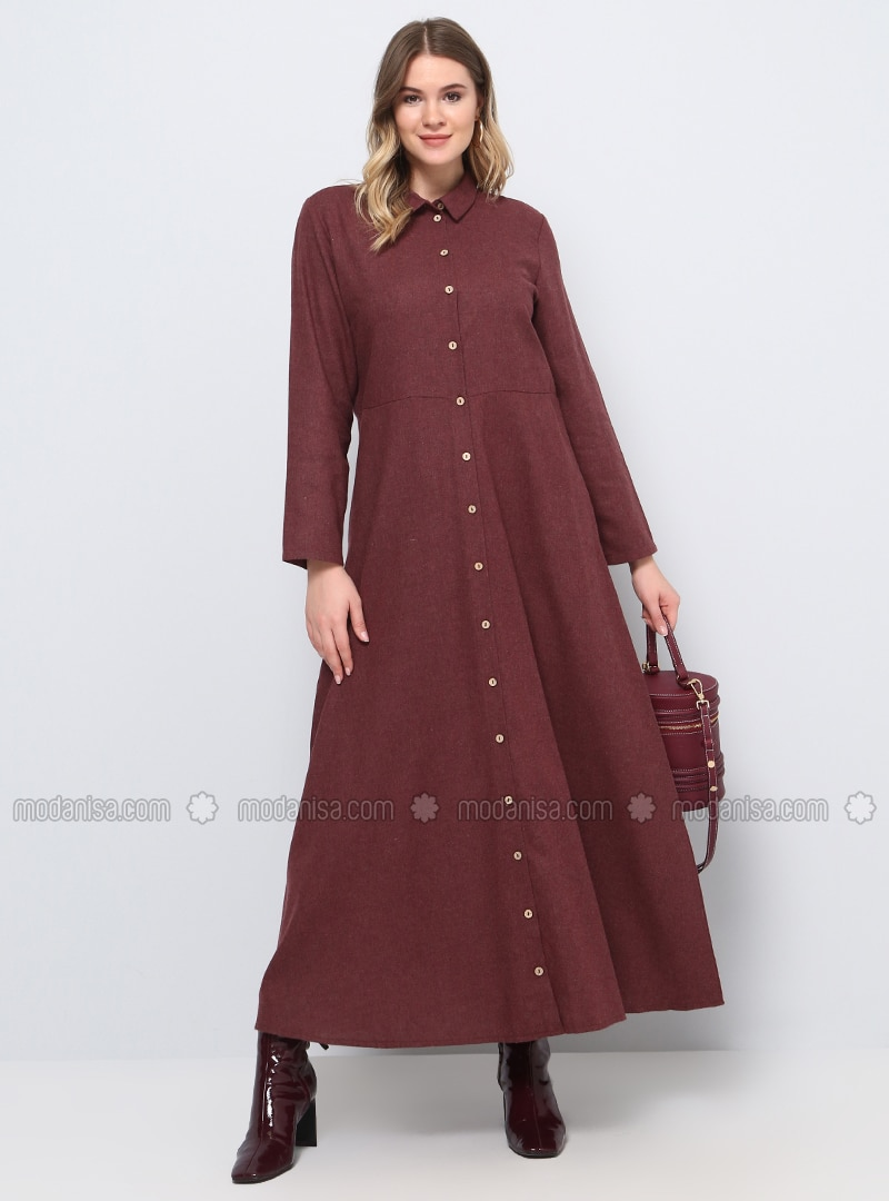 b0e3a1038dd Maroon - Unlined - Point Collar - Cotton - Plus Size Dress