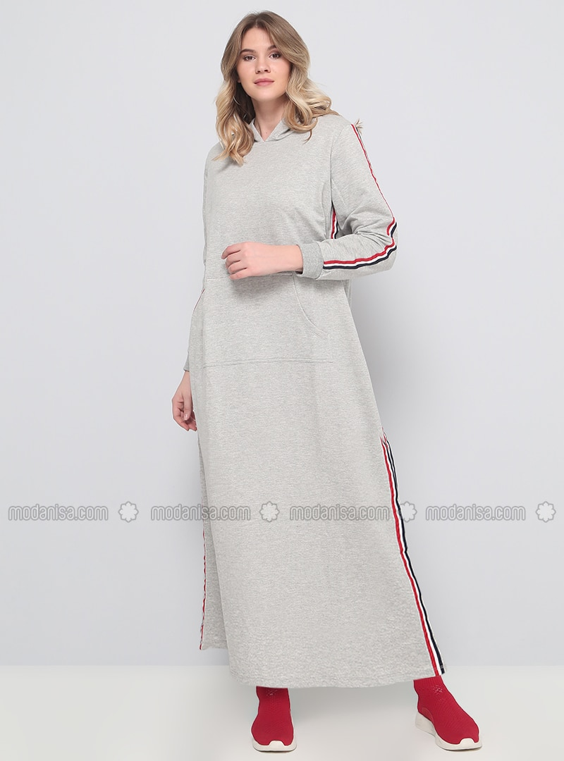 Gray - Unlined - Plus Size Dress