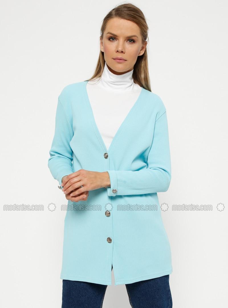 Blue - V neck Collar - Cardigan