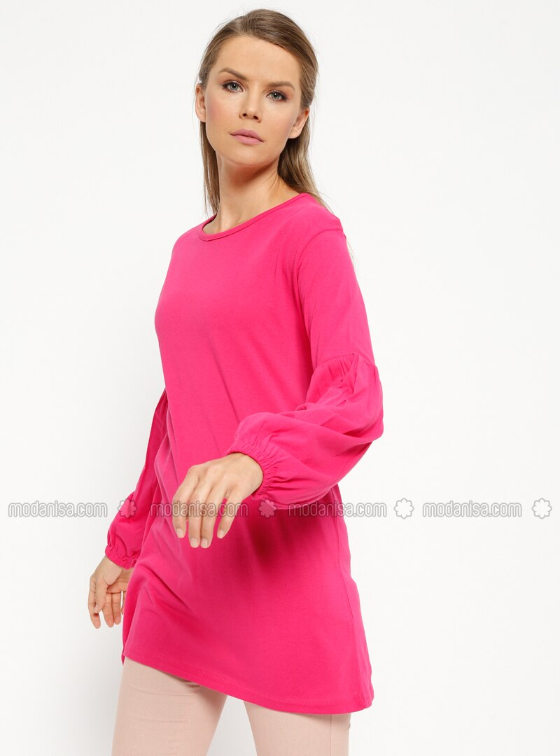 Pink - Fuchsia - Crew neck - Cotton - Tunic