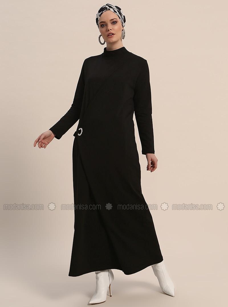 Black - Polo neck - Unlined - Dresses