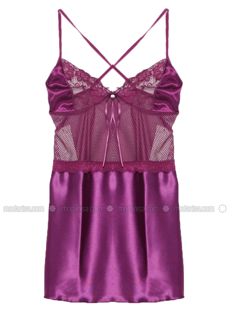 Purple - V neck Collar - Satin - Nightdress