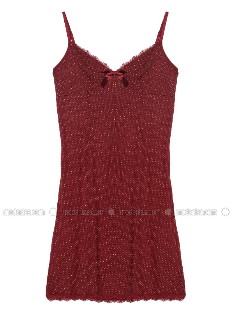 Maroon - V neck Collar - Viscose - Nightdress