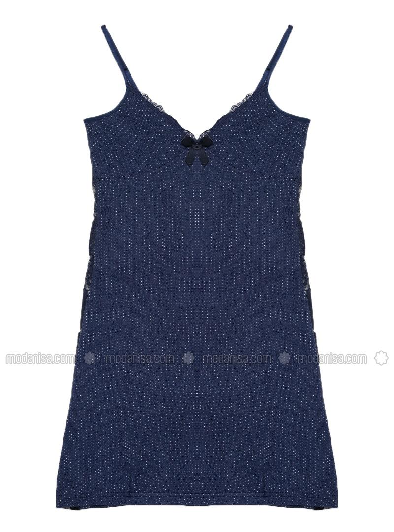 Navy Blue - V neck Collar - Viscose - Nightdress