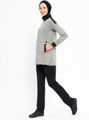 Gray - Polo neck - Tracksuit Set