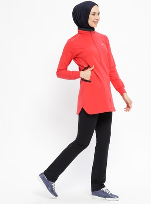 Navy Blue - Coral - Polo neck - Tracksuit Set
