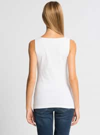 White - Crew neck - Undershirt