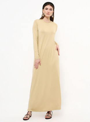Beige - Crew neck - Unlined - Viscose - Dress