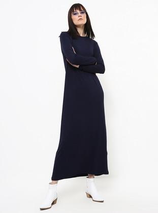 Navy Blue - Crew neck - Unlined - Viscose - Dress
