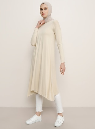 Yellow - Crew neck - Viscose - Tunic