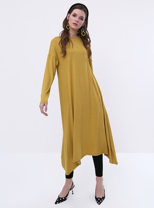 Olive Green - Crew neck - Viscose - Tunic