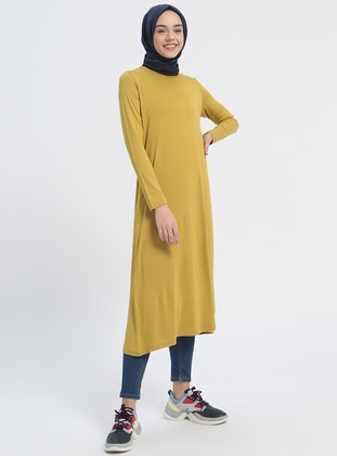 Green - Olive Green - Crew neck - Viscose - Tunic