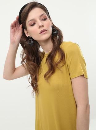 Olive Green - Crew neck - Viscose - Tunic