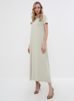 e32e021de734d 135 cm Doğal Kumaştan Kısa Kollu Elbise - Kum. Everyday Basic