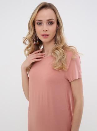 Coral - Crew neck - Unlined - Viscose - Dress