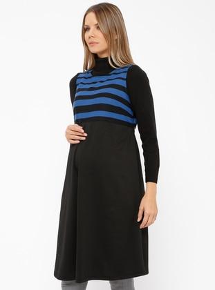 Saxe - Crew neck - Stripe - Maternity Tunic - CARİNA