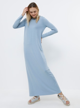 Blue - Indigo - Crew neck - Unlined - Viscose - Dress