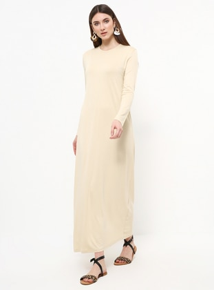 Yellow - Crew neck - Unlined - Viscose - Dress