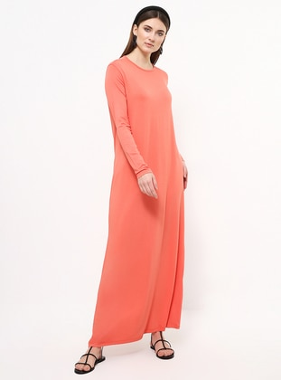 Coral - Crew neck - Unlined - Viscose - Dress